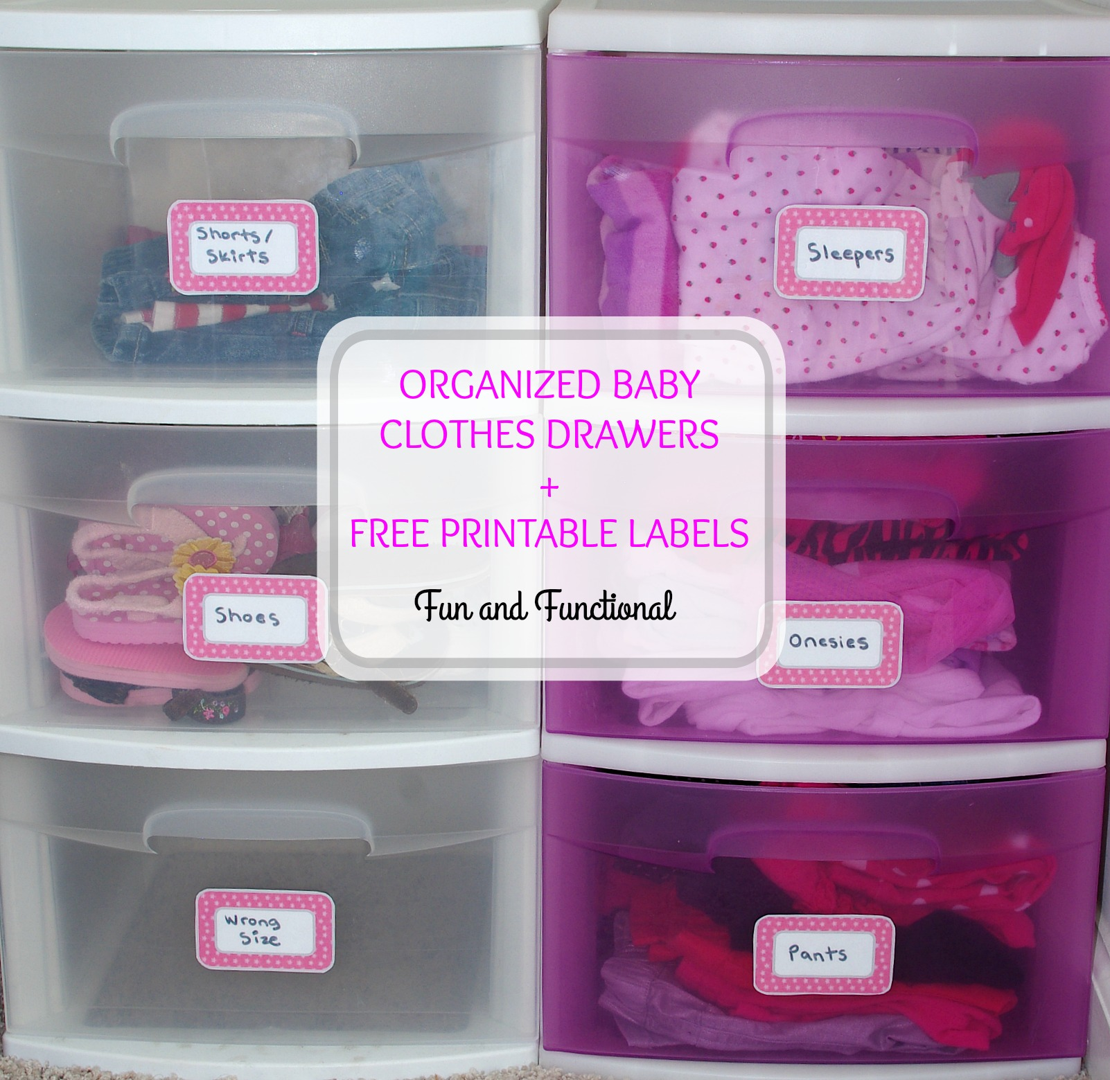 Organized baby clothes drawers free printable labels for Baby stuff organizer